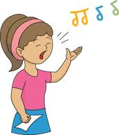 girl singing with notes in air clipart